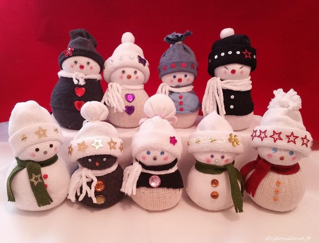 Décoration de Noël : Bonhomme de neige chaussette