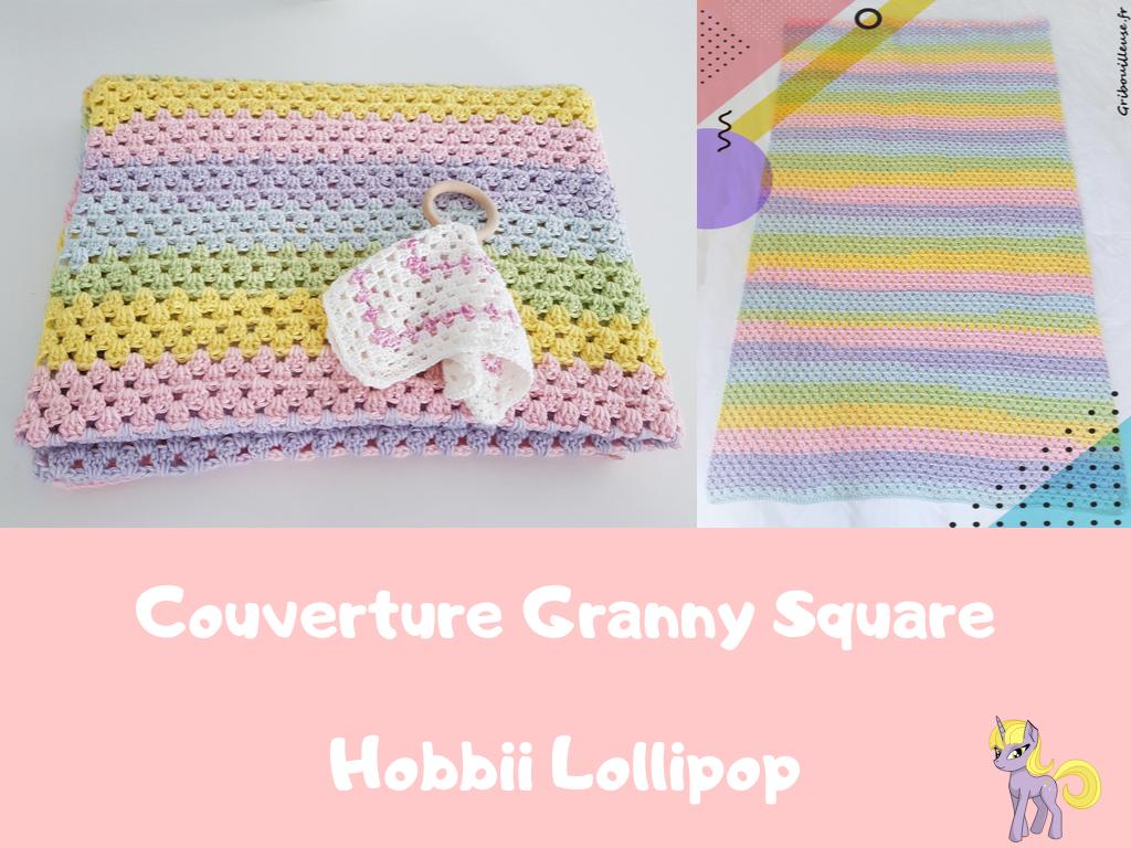 Couverture Granny Square couleur licorne