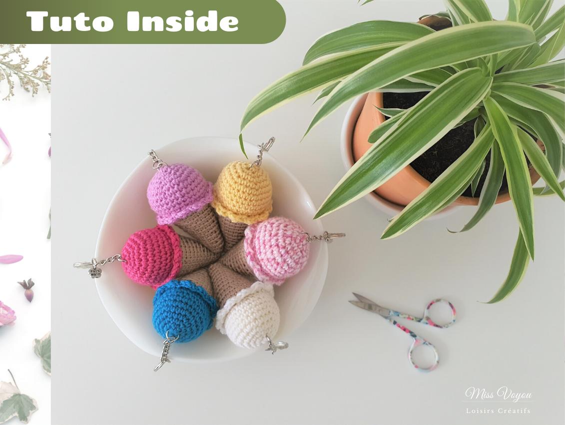 Porte clé au crochet – Cornet de glace – Tuto Inside !
